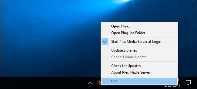 stop the plex using the service task bar application