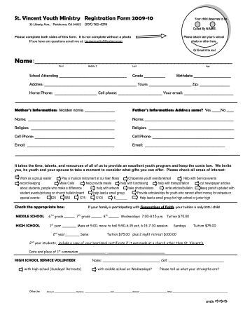 application for avolunteer with st vincent