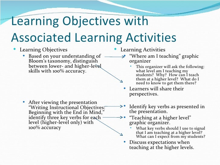 sample learning goal of a teacher at blooms application level