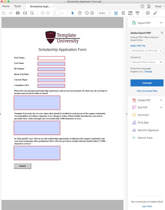 web based application form design sample template