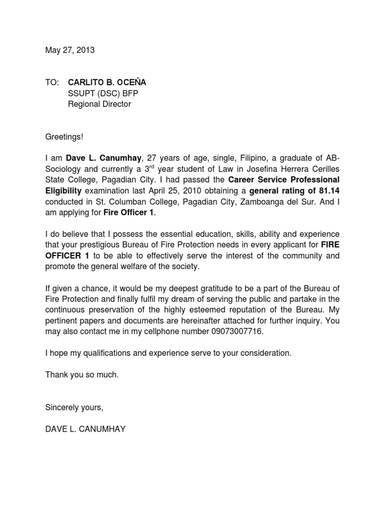 application letter for police officer in philippines