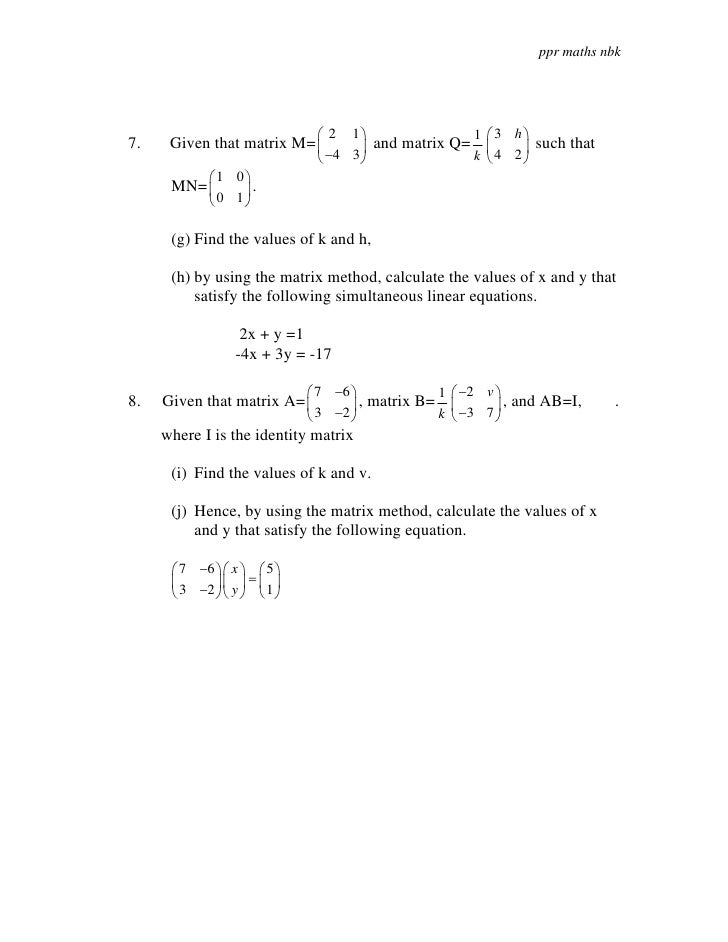 applications of matrices to simulataneous equations