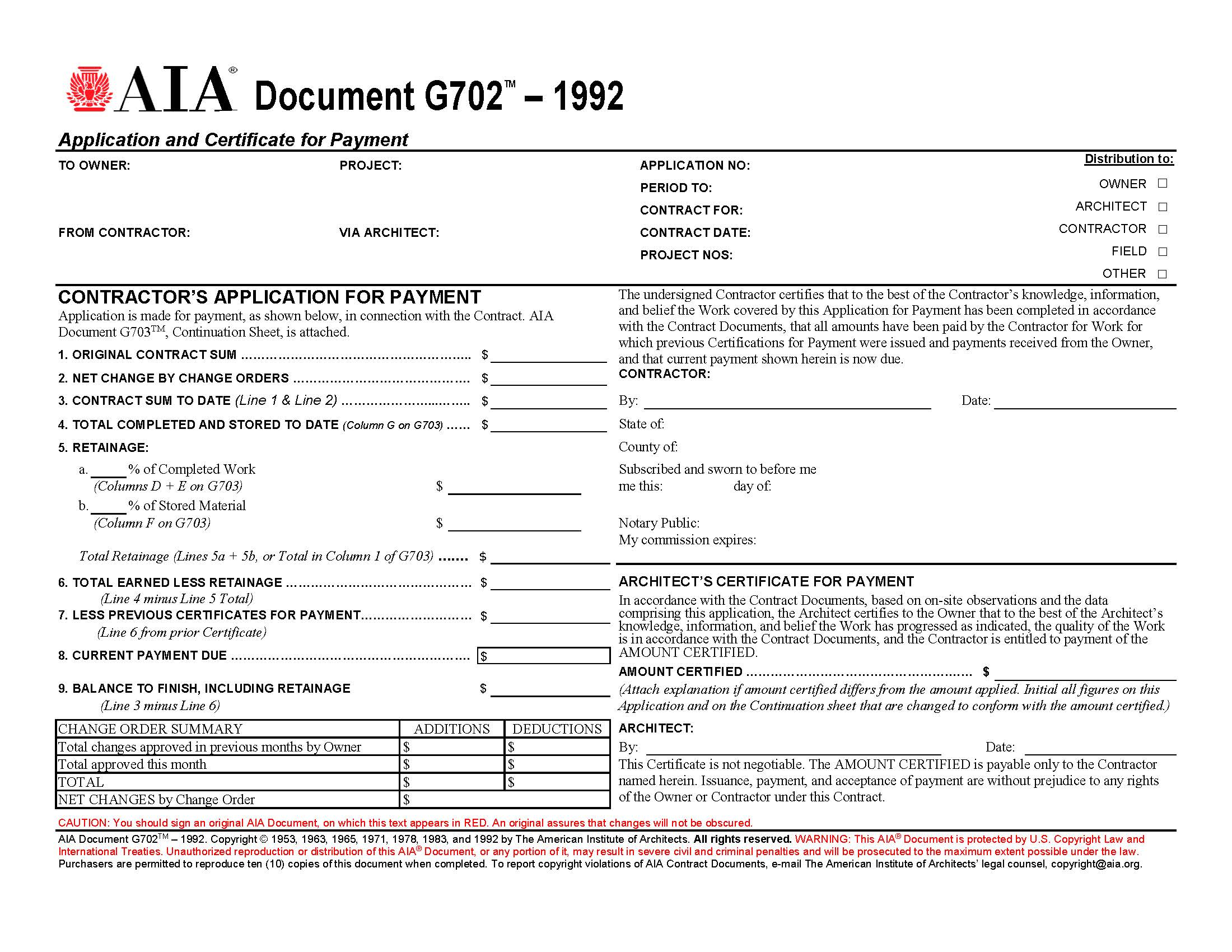 aia form application for payment