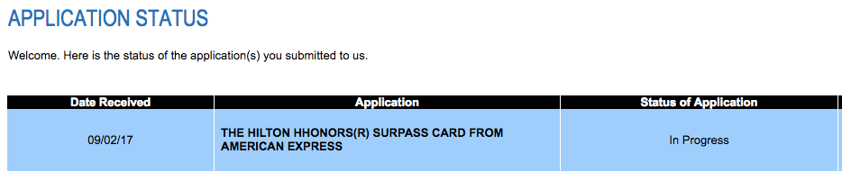 american express application status us