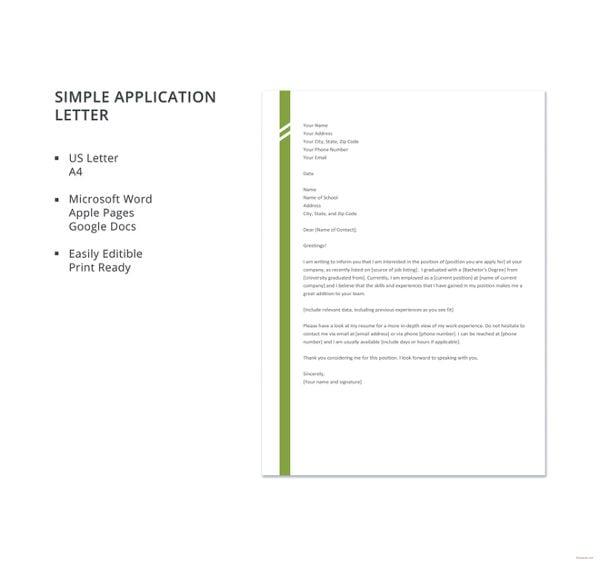 sample of simple application letter sample