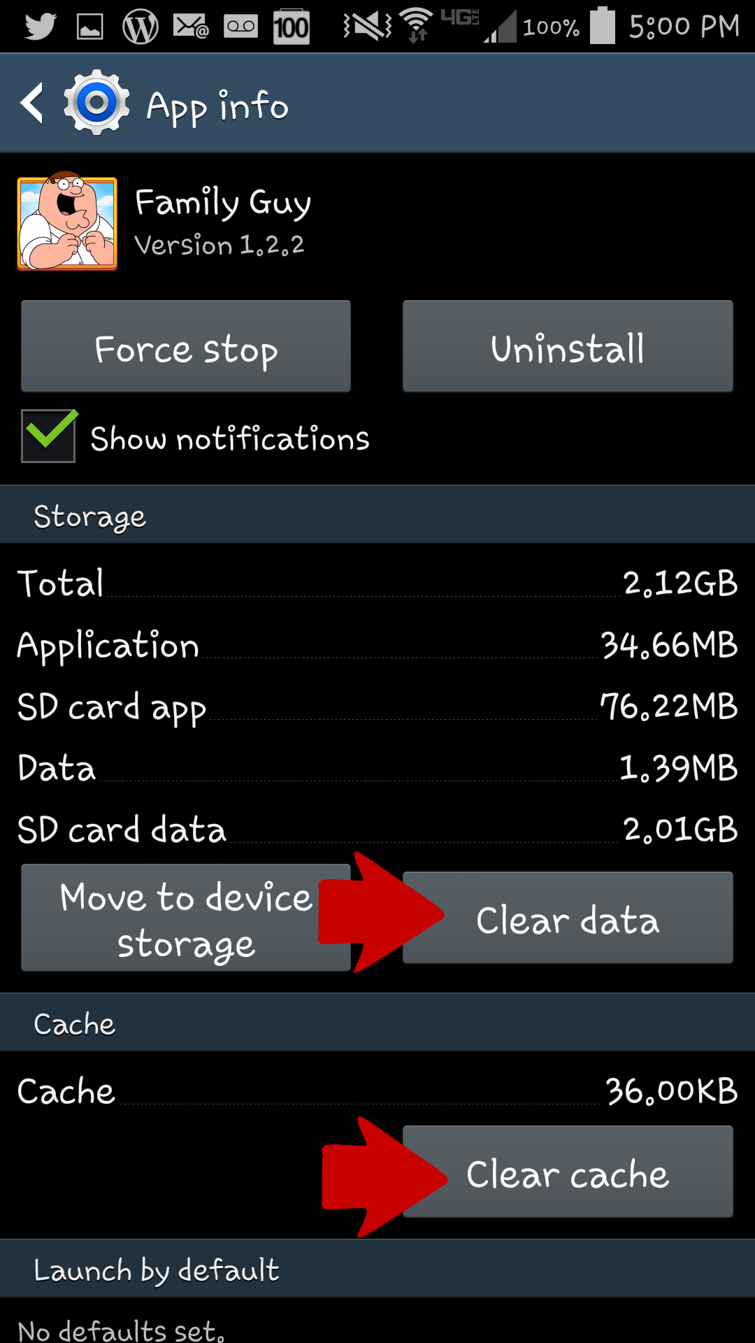 clear cache in applications manager