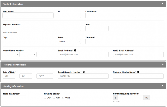 first financial bank credit card application