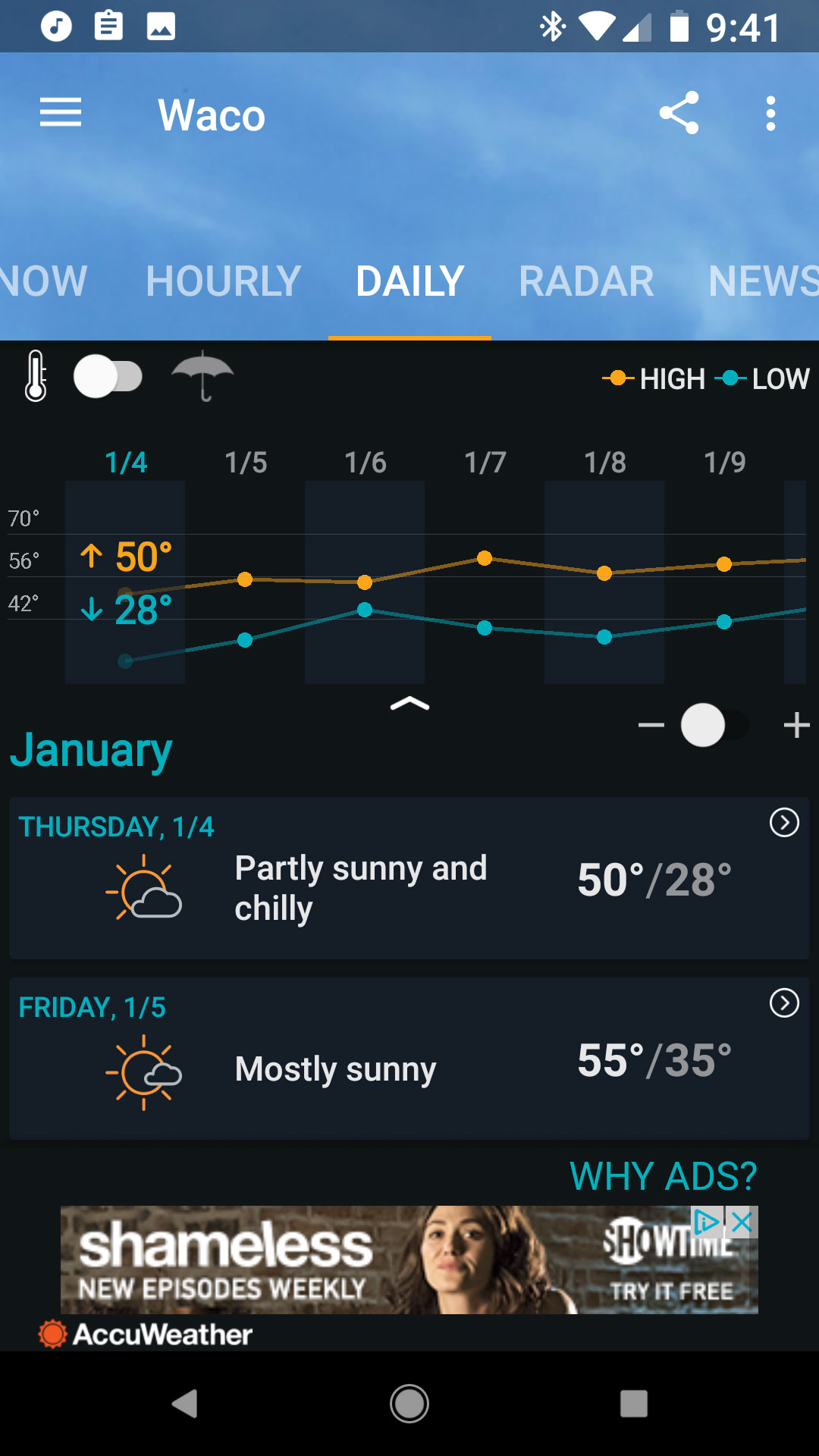 temperature application for android phone