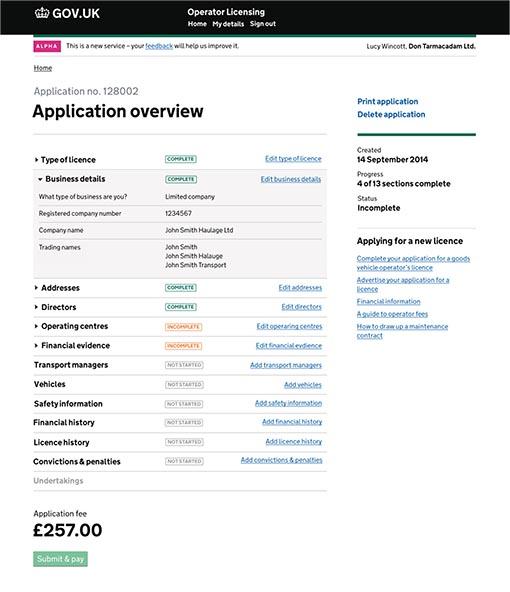 liquor licence application one gov