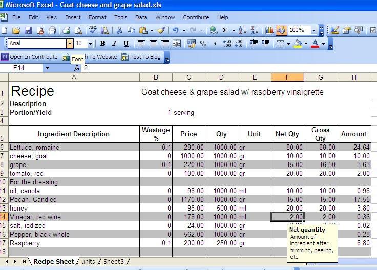 web application cost calculator excele
