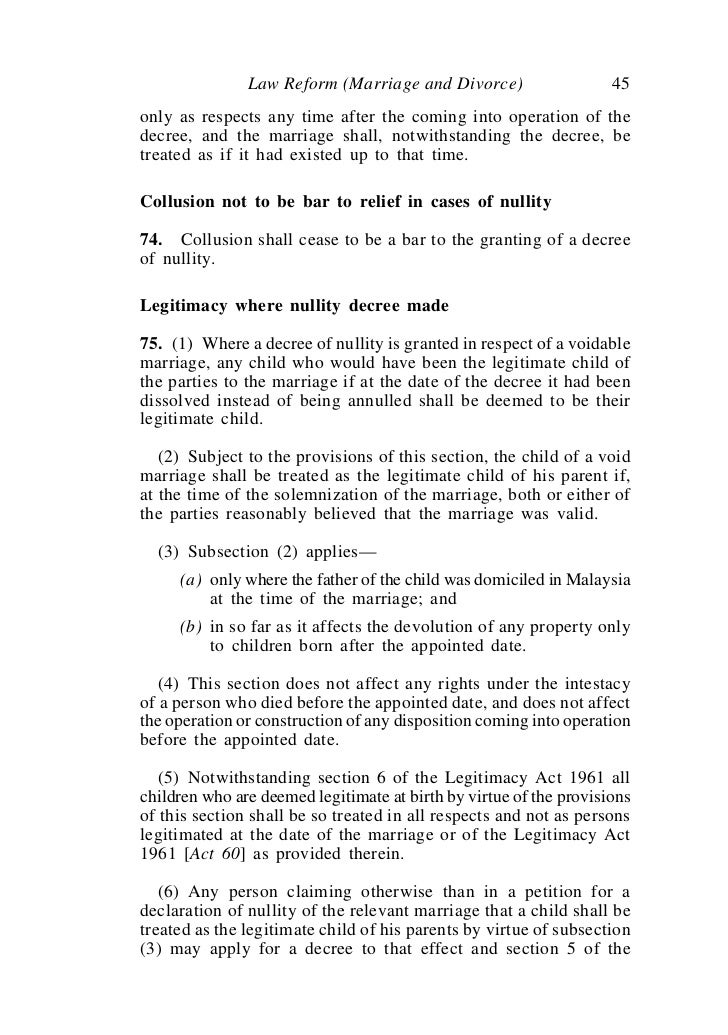 what is a application for decree as to nullity au